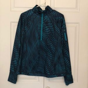 Navy & Teal Long-Sleeve Athletic Pullover